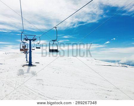 Ski lift at ski resort Popova Sapka, Macedonia