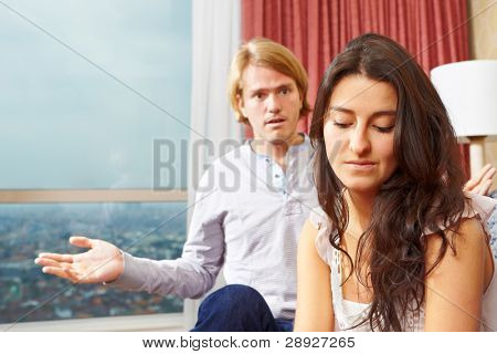 Couple having problem , the woman ignoring her spouse