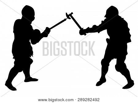 Man in old knightly clothes on white background