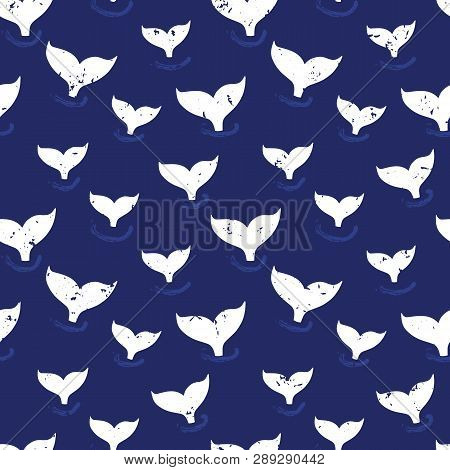 Whale Fin Seamless Pattern Vector. Simple Marine Background Blue And White. Silhouette Of Whale Tail