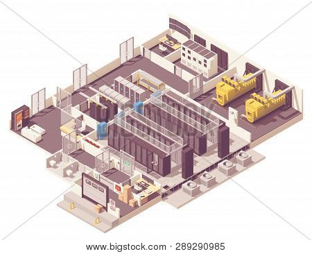 Vector Isometric Data Center. Server Room With Hot And Cold Aisle Containment, Generator, Ups And Ba