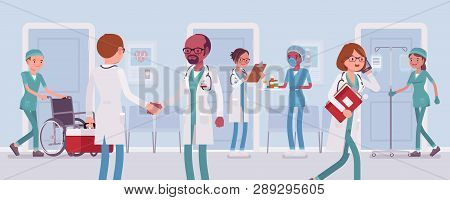 Doctors And Nurses Working In A Hospital. Busy Day In Clinic Department, Staff And Med Equipment, Pa