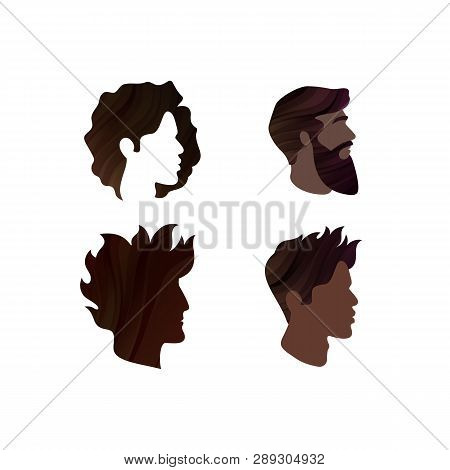Set Of Mens Profiles. Vector Male Hairstyles. Template Face Silhouettes. Abstract Logo Concept