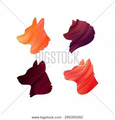 Vector Set Of Colorful Dogs Profiles. Vector Silhouette. Animal Heads For Icons, Veterinary Clinics,