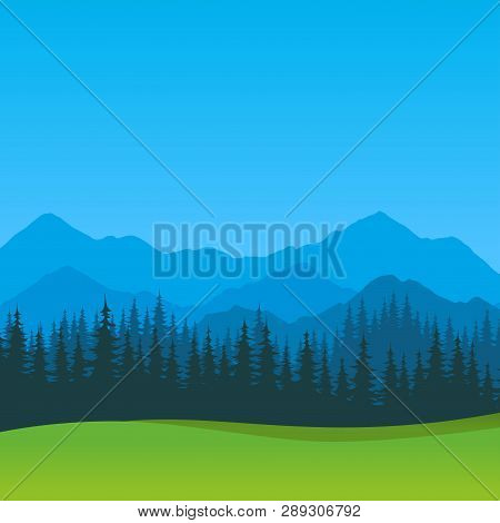 Vector Summer Landscape With Clear Blue Sky - Scenic Outdoor View, Silhouettes Of Mountains And Fore