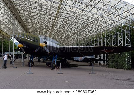 Moscow, Russia - June 20, 2018: Long-range Bomber Il-4 (db - 3f) In The Museum Of Military Equipment