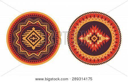 Ethnic Decorative Elements. Round Ornament Pattern. Southwest American Rug, Navajo Print.