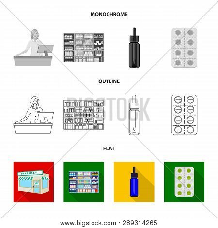 Vector Illustration Of Retail And Healthcare Icon. Collection Of Retail And Wellness Vector Icon For