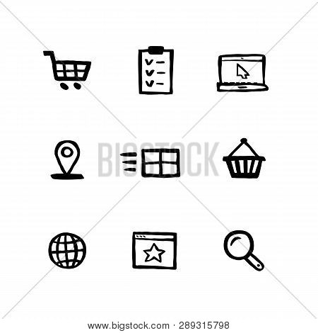 Naive Style Shopping Icon Set. E-commerce, Online Shopping And Delivery Doodle Ink Style Set Of Icon