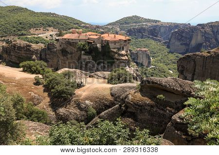 The Monastery Of Varlaam In The Meteora Eastern Orthodox Monasteries Complex In Kalabaka, Trikala, T