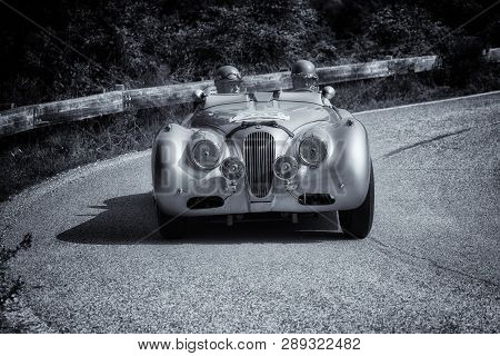 Pesaro Colle San Bartolo , Italy - May 17 - 2018 : Jaguar Xk 120 M Competition 1952 On An Old Racing