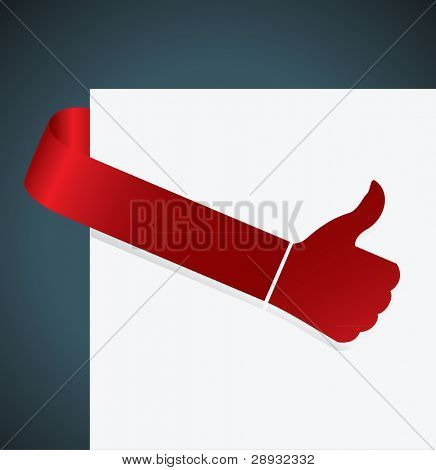 thumb up tag in red color illustration