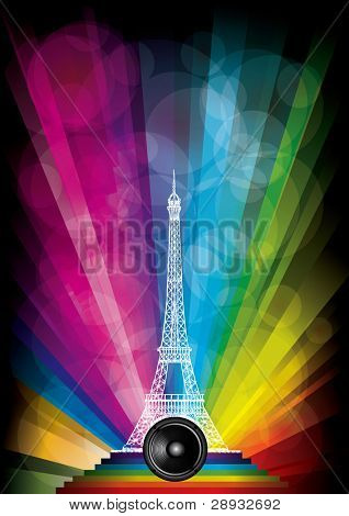 vector card with eiffel tower and neon lights on a rainbow background