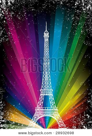 vector card with eiffel tower on a rainbow background