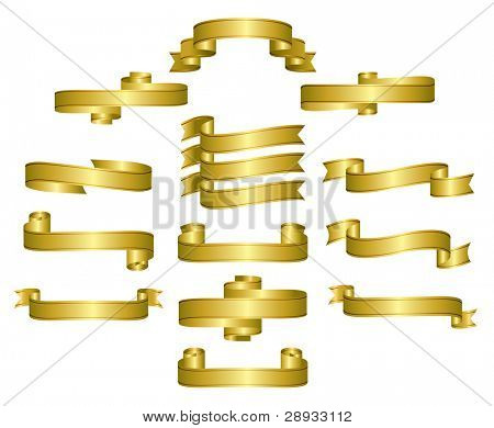 Gold Ribbon, scrolls, banners - editable vector illustrations