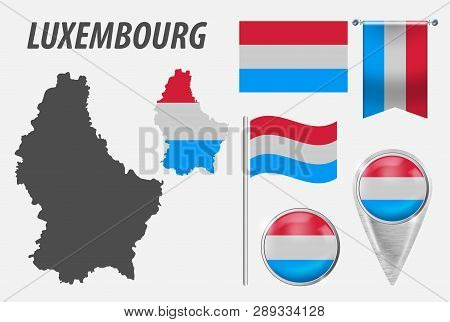 Luxembourg. Collection Of Symbols In Colors National Flag On Various Objects Isolated On White Backg