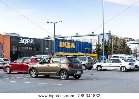 Varna, Bulgaria, March 09, 2019. Car Parking Area Near The Entrance Of The Ikea Shop Center In Varna