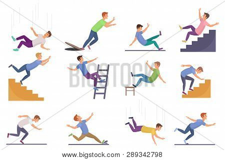 Set Of Falling Man Isolated. Falling From Chair Accident, Falling Down Stairs, Slipping, Stumbling F