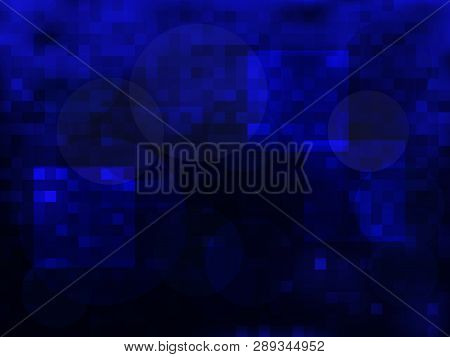 Vector Abstract Blue Background Of Darkness With Circles. Textured Wallpaper Of Mystery. Vector Illu