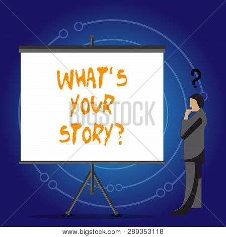 Conceptual Hand Writing Showing What S Your Storyquestion. Business Photo Showcasing Connect Communi