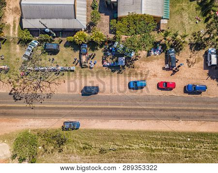 Aerial View Of A Flea Market In The Colonia Independencia In Paraguay.