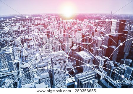 Modern Toronto Urban Skyline With High-speed Data And Internet Communication Network. Concept Of Cyb