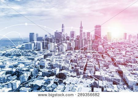Modern San Francisco Urban Skyline With High-speed Data And Internet Communication Network. Concept