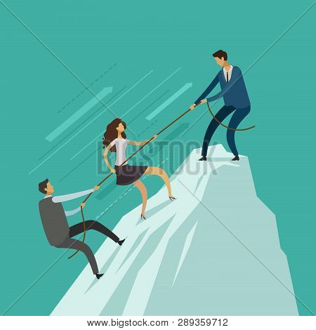 Business People Is Helping Each Other To The Top Of Mountain. Teamwork Concept. Climbing Up, Infogra