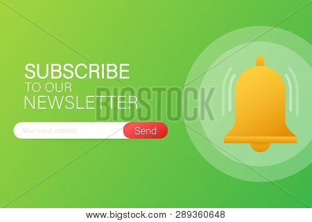 Email Subscribe, Online Newsletter Vector Template With Mailbox And Submit Button. Vector Stock Illu