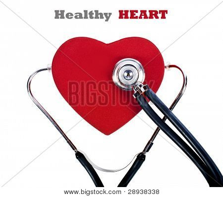 a Doctor's stethoscope listening to a Healthy heart