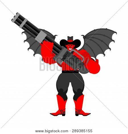 Devil Evil Cowboy And Minigun. Wild West Demon Gunfighter. Angry Western Daemon