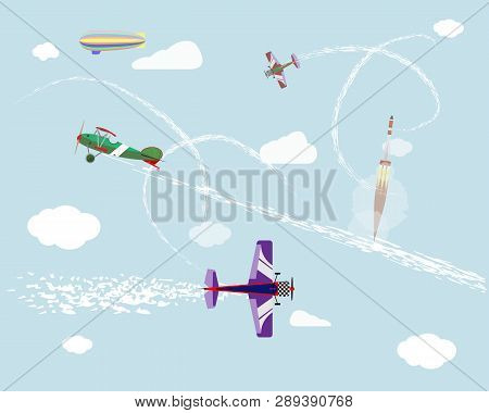 Airshow. Flight Of Airplanes And Airship In The Sky. Rocket Launch. Vector Graphics.