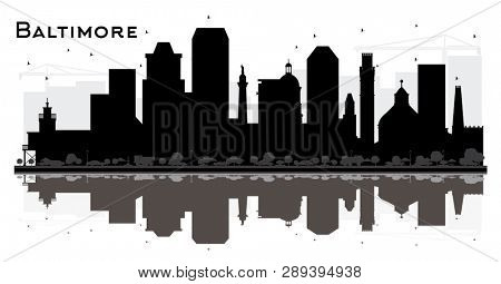 Baltimore Maryland City Skyline Silhouette with Black Buildings and Reflections Isolated on White. Tourism Concept with Historic Architecture. Baltimore Cityscape with Landmarks.
