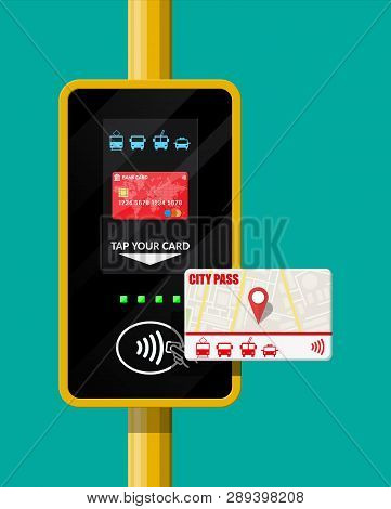 Terminal and passenger transport card. Airport, metro, bus, subway ticket terminal validator. Wireless, contactless or cashless payments, rfid nfc. Vector illustration in flat style poster