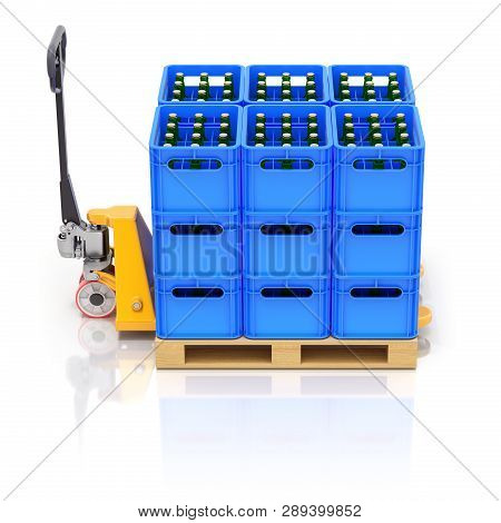 Drink Crates And Pallet Jack On White Reflective Background - 3d Illustration