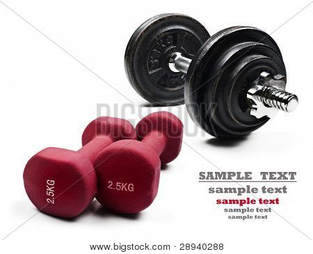 Dumbbells on a pure white background with space for text