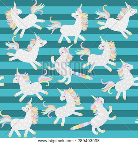 Seamless Pattern With Cute Frolicking Unicorns And Caticorns On Striped Green Background In Vector.