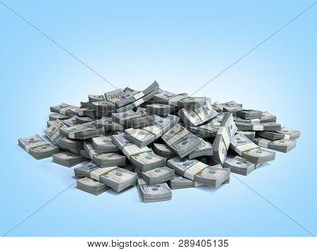 Money Pile Of Packs Of Hundred Dollar Bills Stacks 3d Render On Blue Gradient