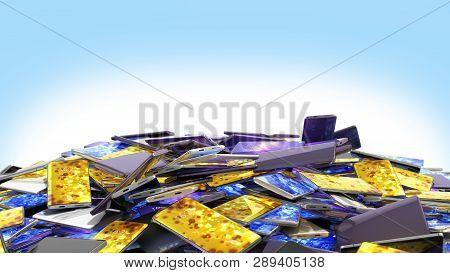 Mountain Of Full Screen Phones 3d Render On Blue Gradient
