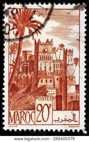 Luga, Russia - February 13, 2019: A Stamp Printed By Morocco Shows View Of Ouarzazate - A City And C