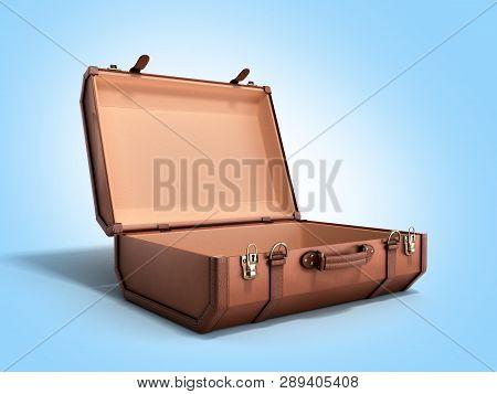 Open Vintage Suitcase 3d Render On Blue Background