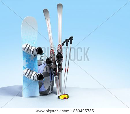 Concept Of Winter Tourism Snowboarding And Skiing In The Snow 3d Render On Blue Gradient