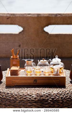 Classical asian tea set at outdoors