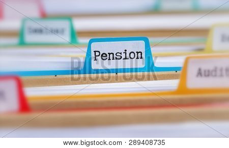 File Folders With A Tab Labeled Pension