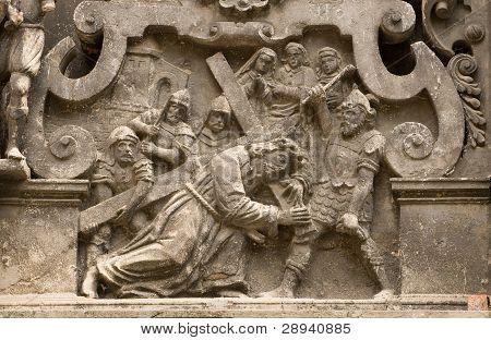 Stone Molding Jesus With Cross