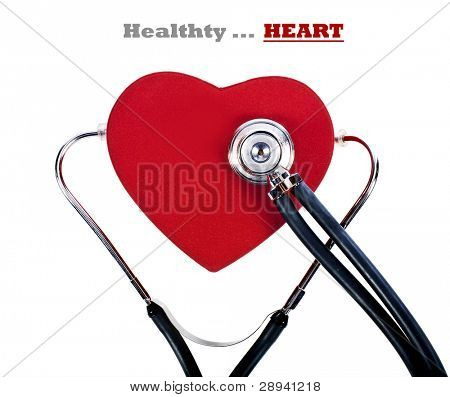 a Healthy red heart balanced on a doctor's stethoscope
