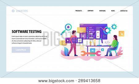 Vector Web Site Design Template. Software Development And Code Test, Programmer Coding Application.