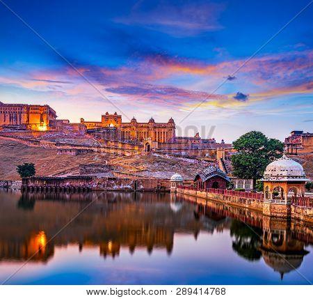 Amber Fort And Maota Lake, Jaipur, Rajasthan, India