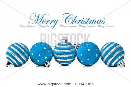 Five blue  christmas decoration ball on a white background with space for text
