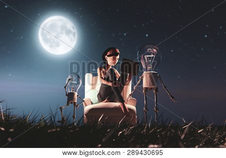 Light Bulb Robot Giving A Light To The Girl Who Reading A Book In Starry Night Conceptual Background